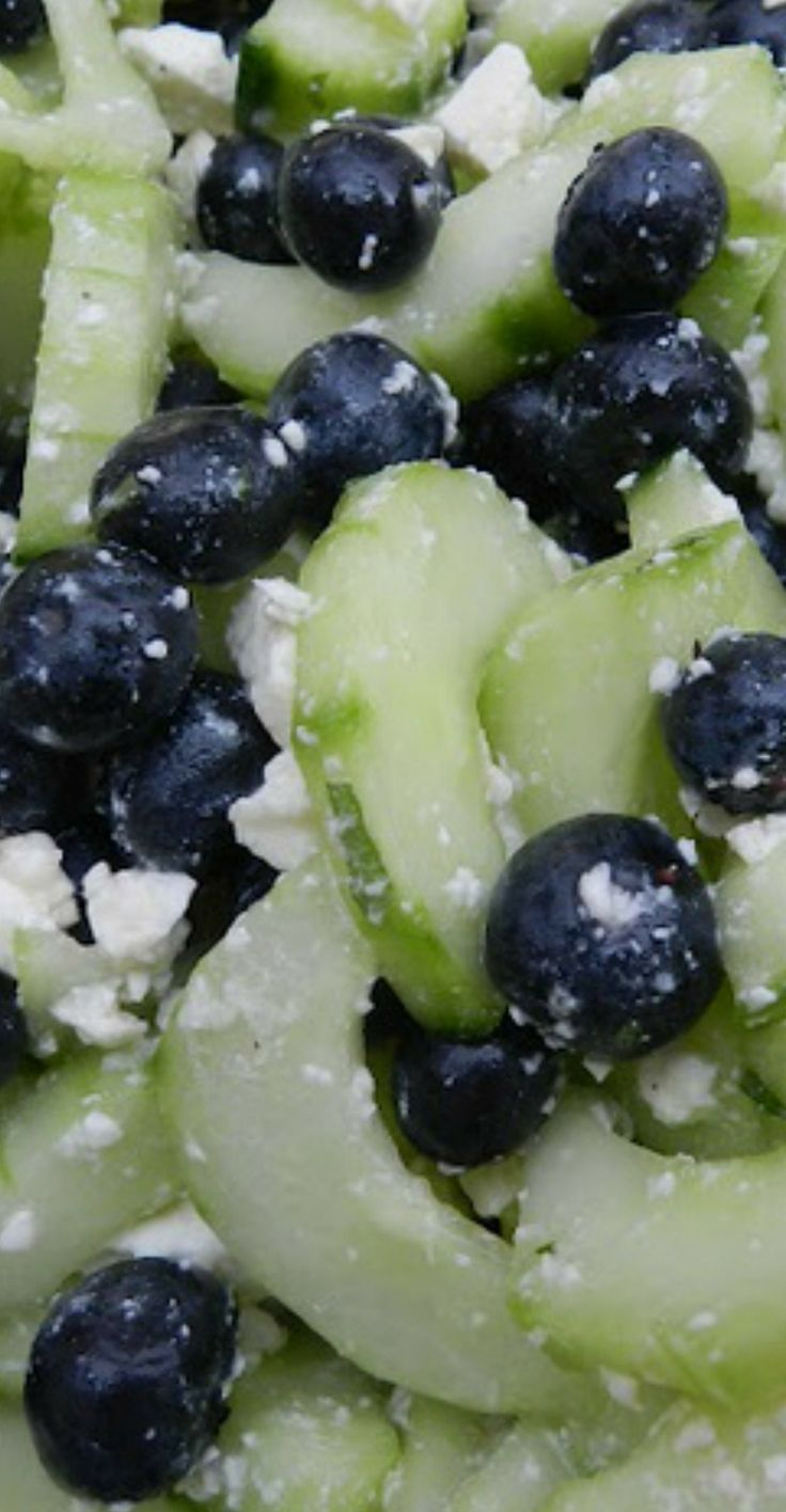 Cucumber & Blueberry Salad with Feta~ A great summer salad! (OR A PERFECT SIDE FOR A COOKOUT!)