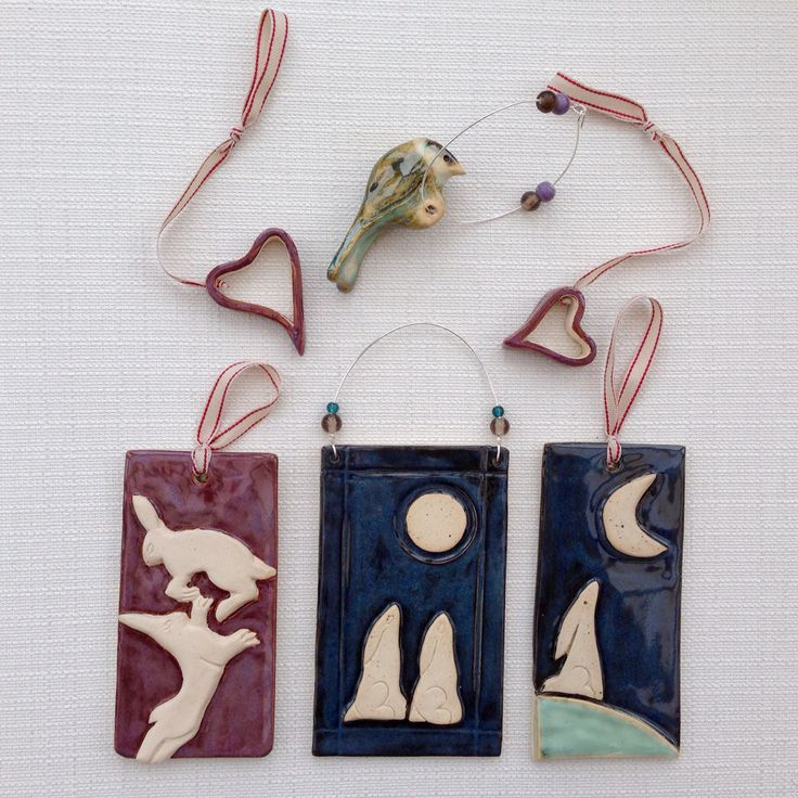 Ceramic Hearts, birds, Mad March Hares, moon gazing hares