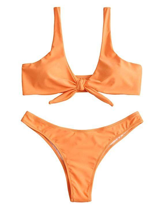 440d8689b43 AmazonSmile: ZAFUL Women Sexy Knotted Padded Thong Bikini Swimsuit ...