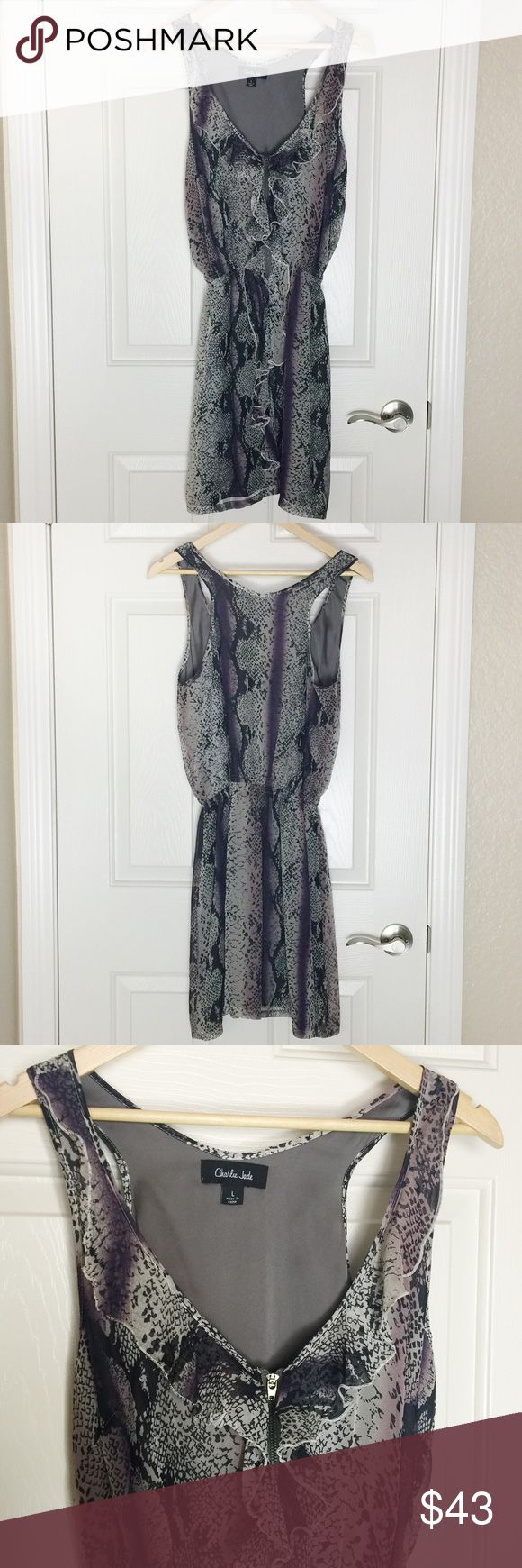 Charlie Jade Silk Racerback Dress Black, grey, and purple racerback dress with zipper and ruffle detail in front. Fully lined. Reptile print. EUC Charlie Jade Dresses