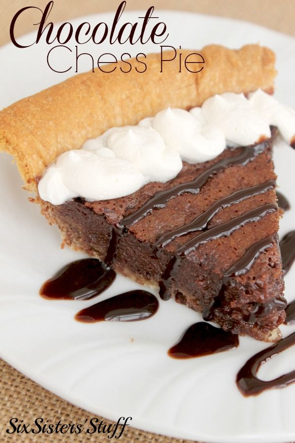 Chocolate Chess Pie from SixSistersStuff
