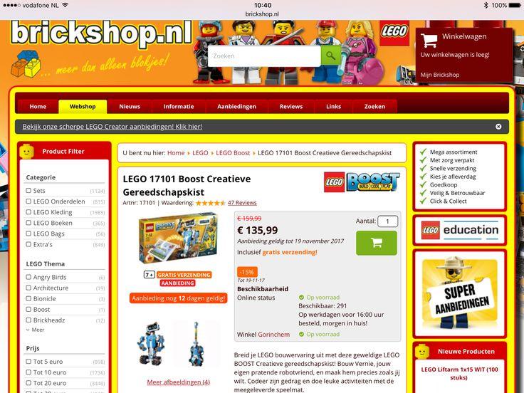 Lego boost 17101. Goedkoopste bij brickshop. €135,99 (gratis verzending)