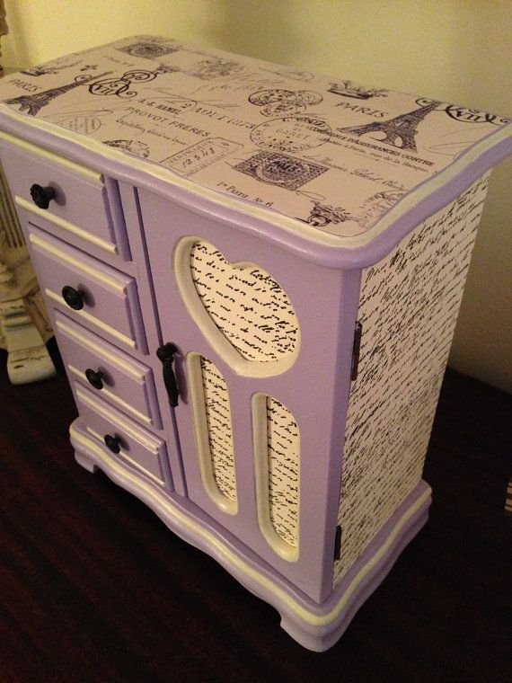 Vintage Jewelry Box Up Cycled Hand Painted In Lavender With French Theme