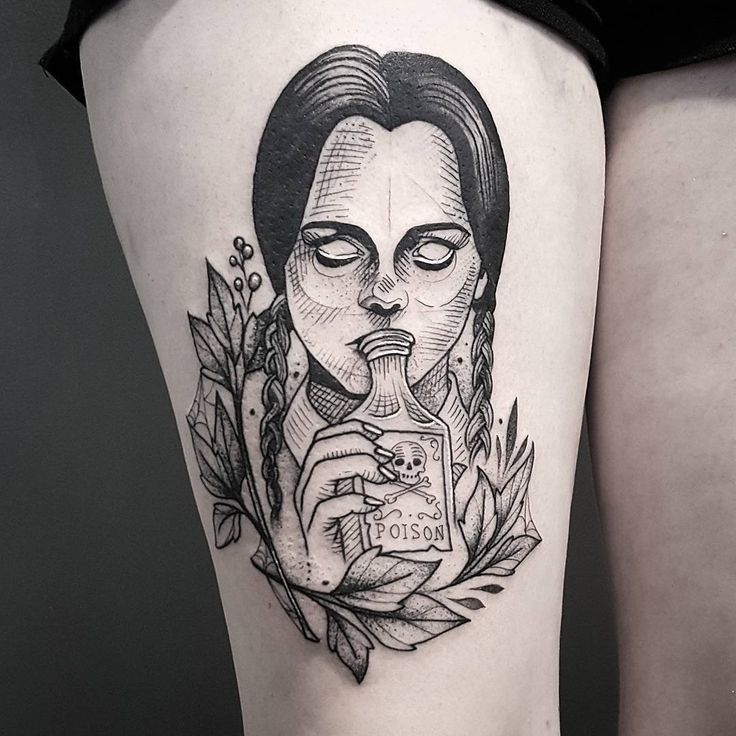 Wednesday Addams by Cutty Bage (@ cuttybage) #nctattooers #blackworkers #blxckink #tatsoul #darkartists #saniderm