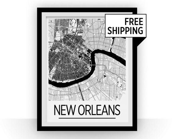 New Orleans Map Poster  usa Map Print  Art Deco by iLikeMaps
