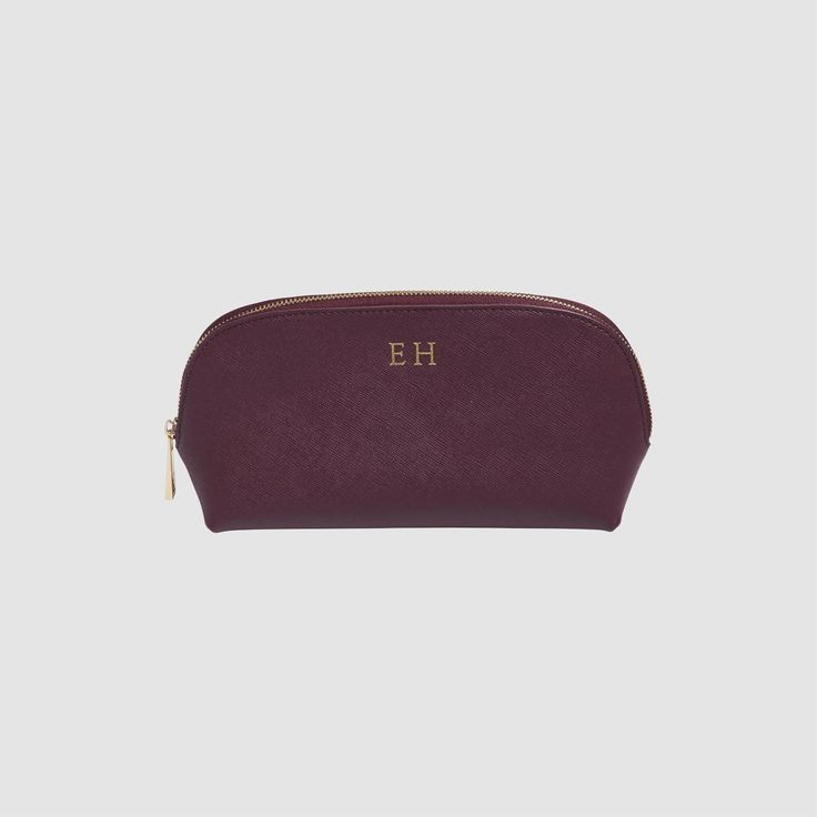 Burgundy Cosmetic Case - Monogram Leather Travel Accessories   The Daily Edited