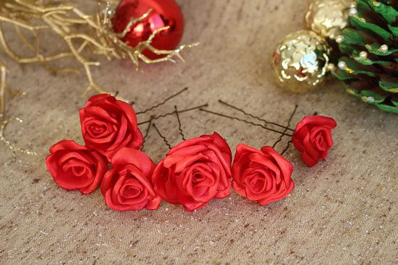 Red rose Hair pins,Christmas Hair pins,Christma hair piece,Bridal Bridesmaid Hair Pins,Woman girl hair pins,Red wedding,Christmas gift girl