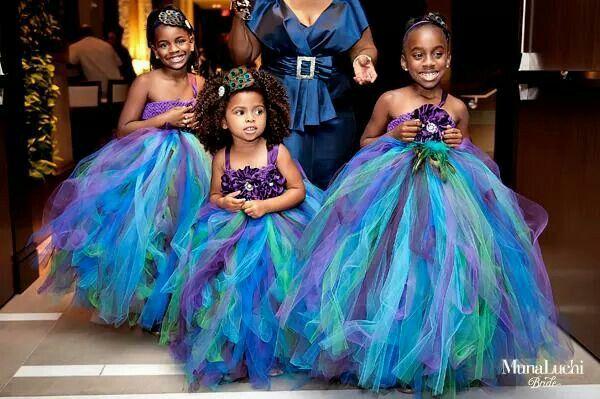 Peacock color inspired flower girl dresses♡