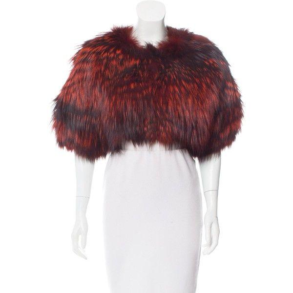 Pre-owned Oscar de la Renta Fox Fur Short Sleeve Bolero ($1,825) ❤ liked on Polyvore featuring outerwear, jackets, orange, oscar de la renta, orange jacket, white short sleeve jacket, white bolero jacket and bolero jackets