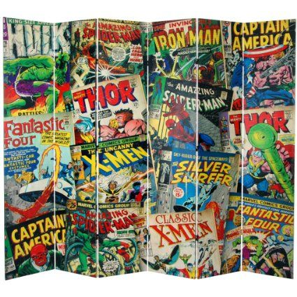 Oriental Furniture 7-Feet Tall Double Sided Marvel Comic Book Covers Canvas Room Divider 149.00