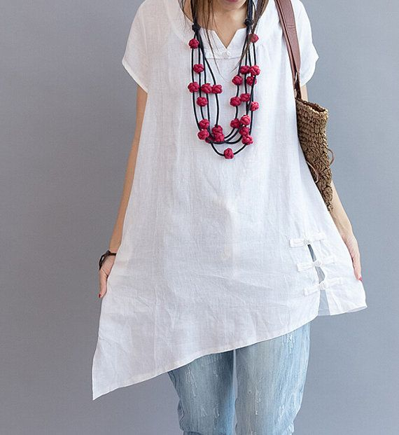 Asymmetrical summer shirt/ Plus size casual short sleeved shirt/ white shirt/ jacinth shirt
