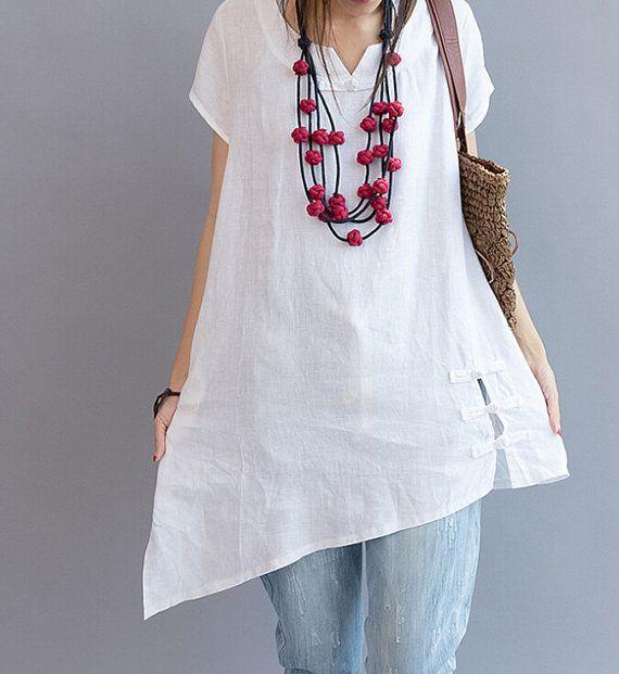 Asymmetrical summer shirt/ Plus size casual short by MaLieb, $95.00