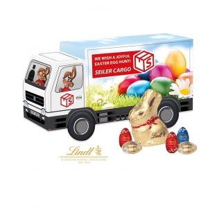 Promotional Luxury Lindt  Easter Truck filled with lindor eggs and a gold bunny