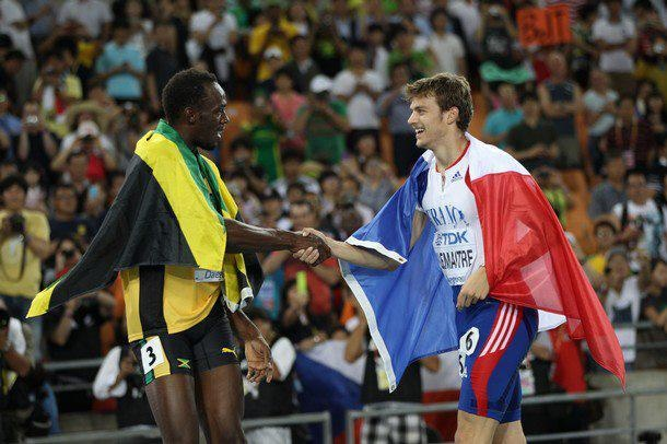 Christophe Lemaitre & Usain Bolt after 200m Competition @ Daegu 2011