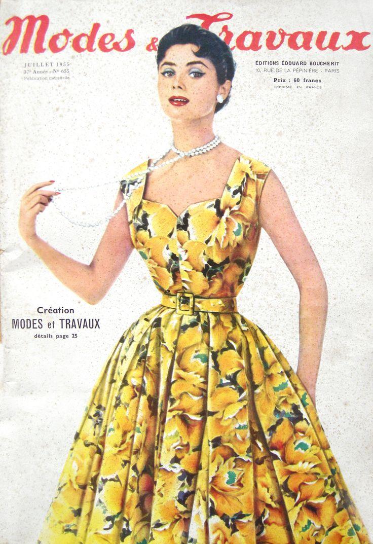 Modes et Travaux, Juillet 1955 :: purchased today at Saint Ouens: Pretty Dresses, 1950S,  Crinoline, Travaux Covers, Hoopskirt, Mode