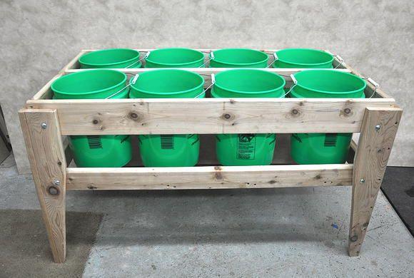 8 Bucket Raised Garden Bed - 56x28x31 - http://www.cedarvalleybuilders.com/#!portable-garden-beds/c1m3p