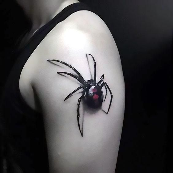 Black 3d Spider Tattoo Idea