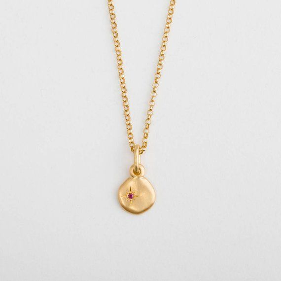 Tiny Ruby Gold Charm Pendant Necklace 18k Yellow Gold Pendant