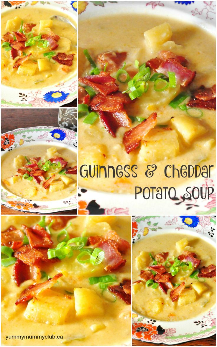 Potato, Cheddar and Guinness Soup served with bacon and green onions is the perfect comfort food