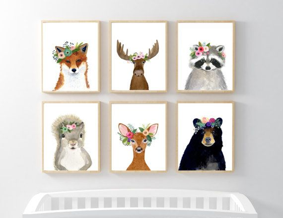 Woodland Animals Print Set Of 6 Prints By Zuhalkanar Nursery Printsnursery Artbear