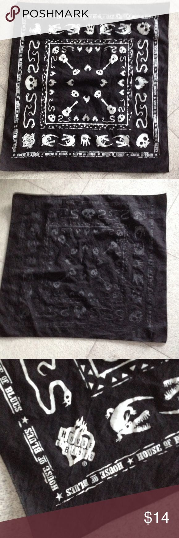 """House of Blues Skull Snake Guitars Bandana + 1 Black & white bandana approx. 20"""" x 22"""" gently used condition. Fabric content/manufacture tag has been removed. 2nd scarf is approx. 21 1/2 x 21"""" victory motorcycle emblem. Fabric content unknown. Accessories Scarves & Wraps"""