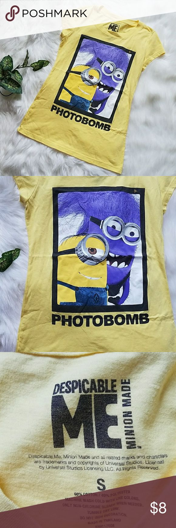 Despicable Me Minion face PhotoBomb yellow shirt Bust: 28 inches wide Length: 24 inches long   Perfect condition without holes or tears Despicable Me Tops Tees - Short Sleeve