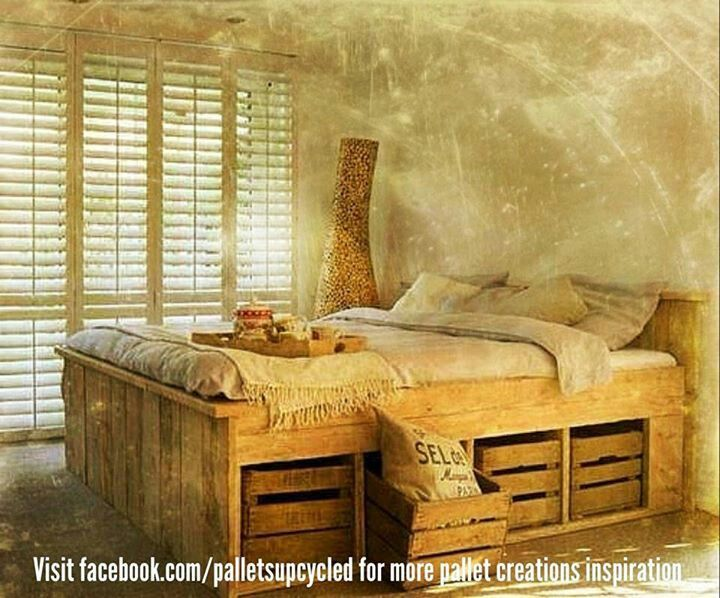 Pallet bed with storage closets and storage ideas for Pallet bed with storage