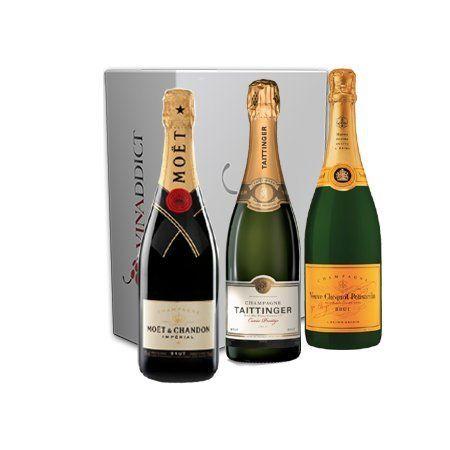 Vinaddict – Coffret Champagne Prestige Magnum – 3 Bouteilles 150Cl Sous Étuis – Veuve Clicquot, Taittinger Prestige, Moët Imperial.:…