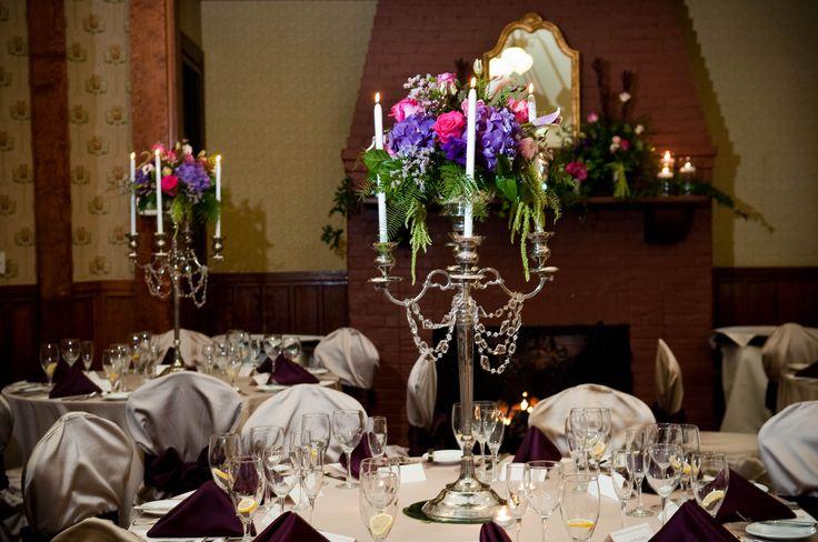Holly Inn Music room: candelabra arrangements