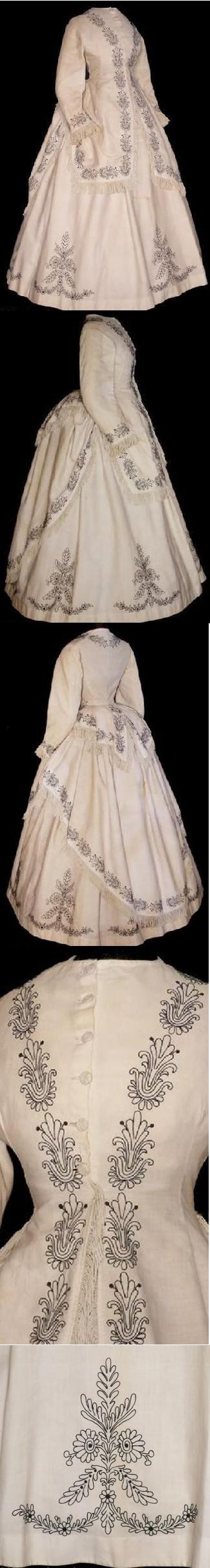 The Barrington House [unknown province] [unknown fiber content] embroidered seaside bustle dress, circa 1868.
