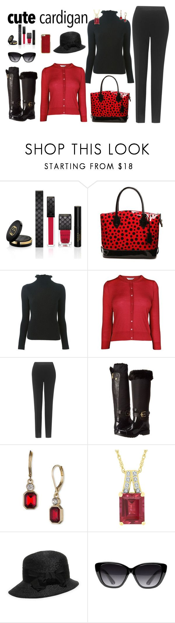 """Favorite Cardigan"" by ann-kelley14 ❤ liked on Polyvore featuring Gucci, Emporio Armani, L.K.Bennett, GUESS, Anne Klein, Gottex, Elizabeth and James, SKDesigns, AnnsRazzJazz and annkelley14"