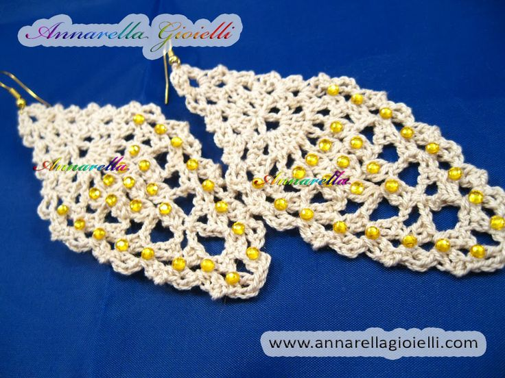 "Tutorial FREE orecchini ""leaf"" a forma di foglia. Crochet earrings."