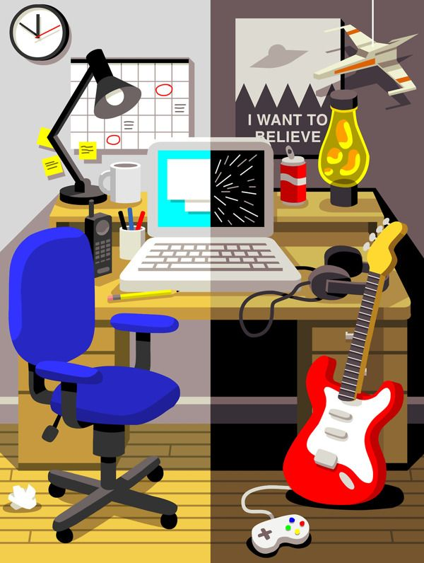 PC World Work Vs Play On Behance American IllustrationGraphic IllustrationIllustrationsWorking HardBirminghamPcFlat DesignWeb