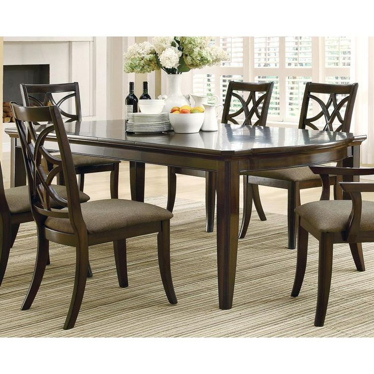 allen espresso finish 7 piece dining set with extension