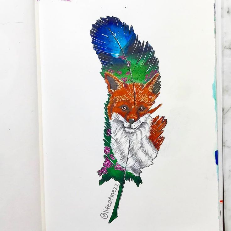 0 Likes, 1 Comments - Mez (@lifeofmezz) on Instagram: art journal page, mixed media painting of a fox within a feather