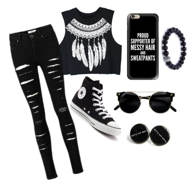 """""""Black on black ♣️"""" by ariba95 ❤ liked on Polyvore featuring WithChic, Converse and Casetify"""