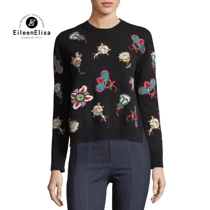 Womens Runway Sweater Long Sleeve Floral Embroidery2017 Winter Pullover Sweaters