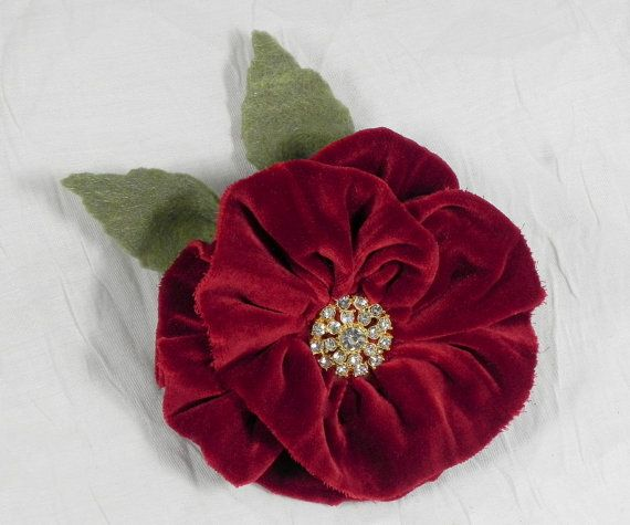 Red Velvet Flower Brooch with Rhinestone Button Center