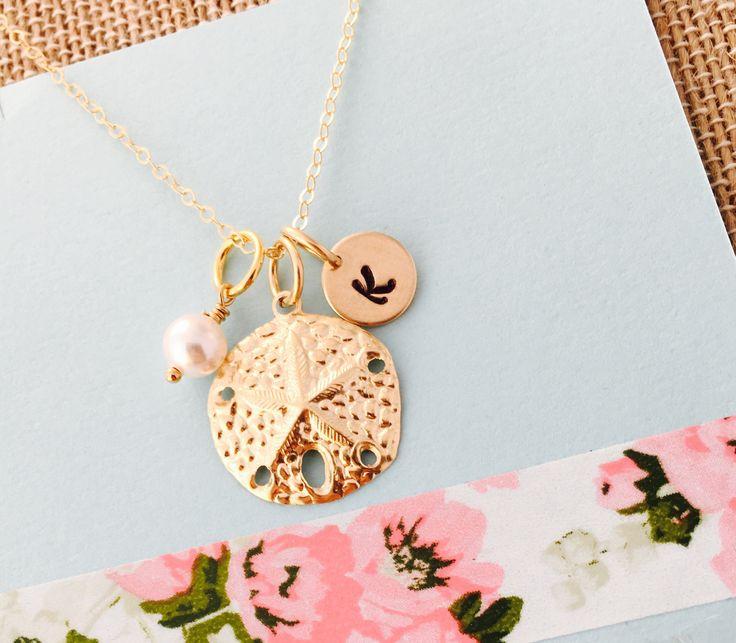 Sand dollar Necklace, Beach Necklace, Beach Wedding Necklace, Sand dollar Jewelry, Gold Sand Dollar