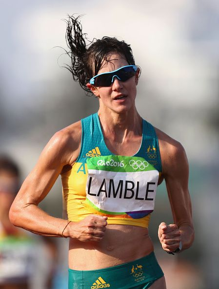 Regan Lamble of Australia competes in the Women's 20km Walk final on Day 14 of…