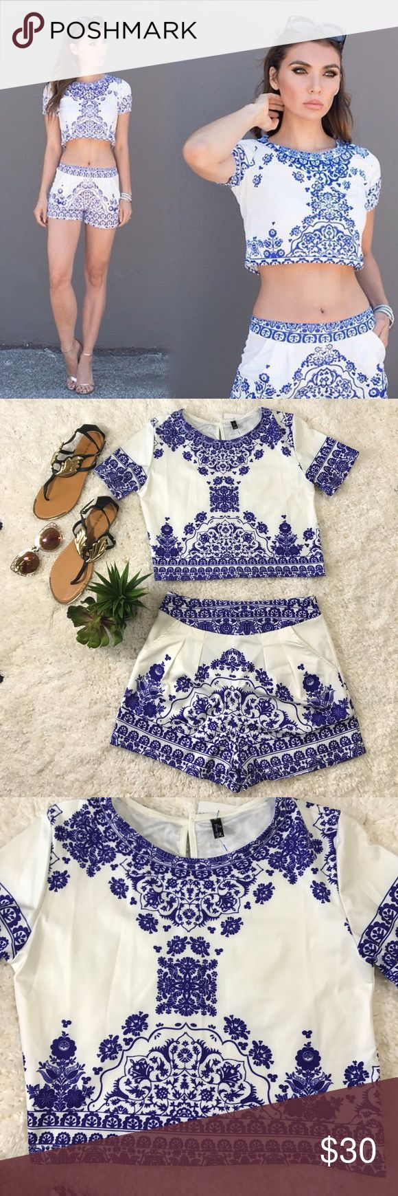 NWT blue Aztec print crop top and shorts set NWT crop top and shorts set. Shorts have pockets on each side. Semi stretchy material. Tops Crop Tops