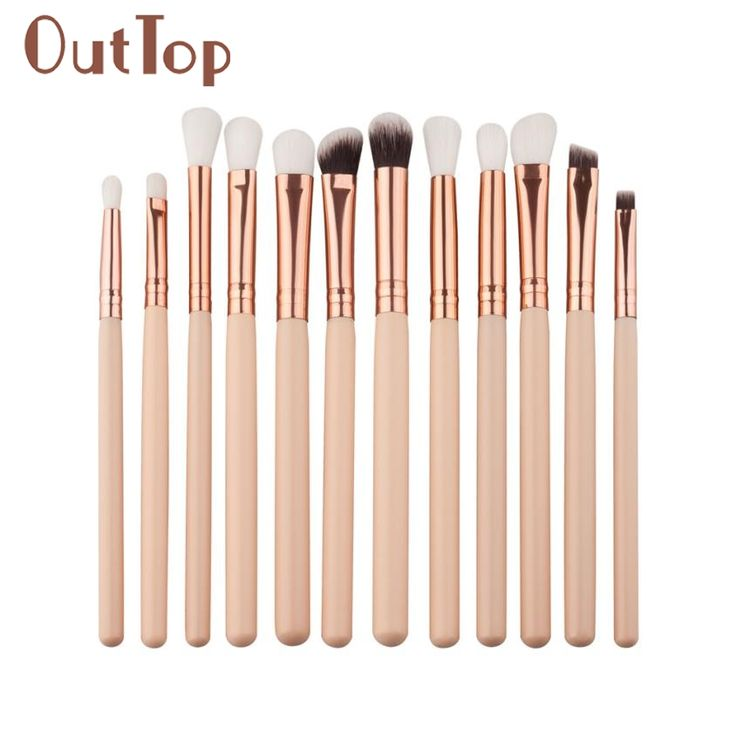 12Pcs Mini Cosmetic Eyebrow Eyeshadow Brush Makeup Brush Sets Kits Tools 0323B #Affiliate