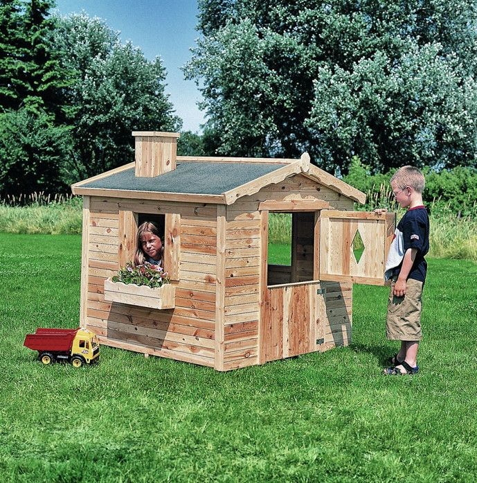 Cute Kinder Spielhaus PROMADINO Villa Spatzennest Kinder Holzhaus Viele M glichkeiten zum Spielen und Entdecken