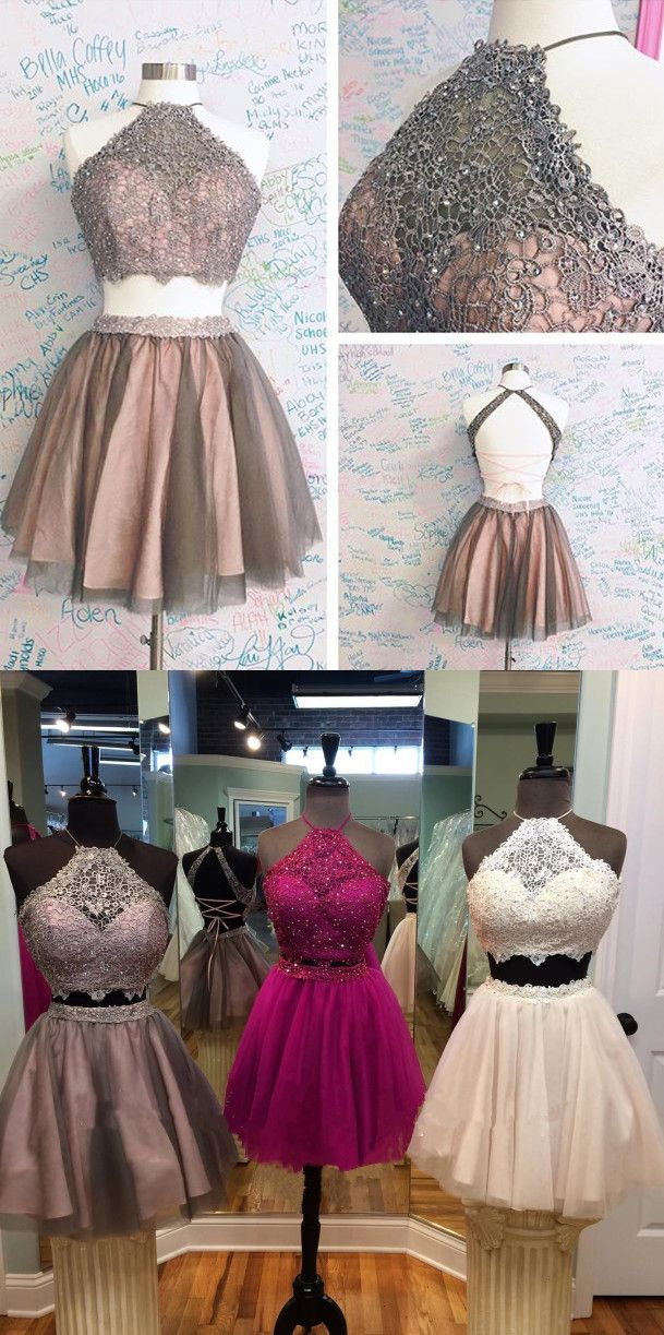 two piece homecoming dress, short homecoming dress, 2017 homecoming dress, champagne homecoming dress, brown homecoming dress