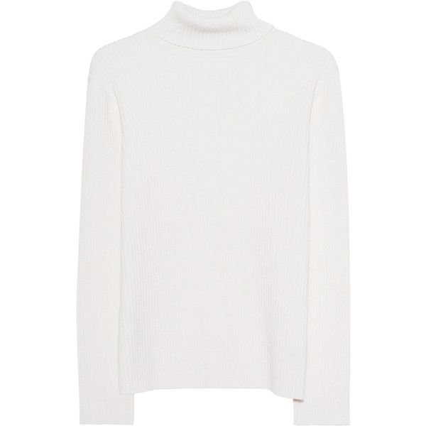 VICTORIA, VICTORIA BECKHAM Turtleneck Off White // Fine knit wool... (3644050 PYG) ❤ liked on Polyvore featuring tops, sweaters, off white sweater, turtle neck sweater, wool sweaters, ribbed turtleneck and off white turtleneck sweaters