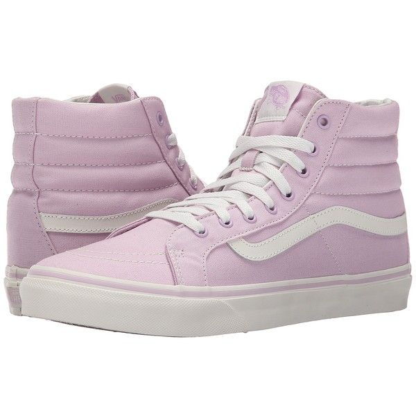 Vans SK8-Hi Slim (Winsome Orchid/Blanc de Blanc) Skate Shoes ($55) ❤ liked on Polyvore featuring shoes, sneakers, vans, vans sneakers, high top trainers, hi tops, leather high top sneakers and high top sneakers