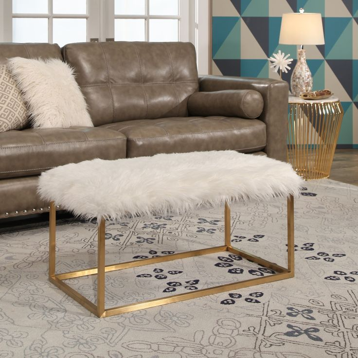 17 Lively Shabby Chic Garden Designs That Will Relax And: Abbyson Evelyn Stainless Steel Faux Fur Ottoman (Rectangle