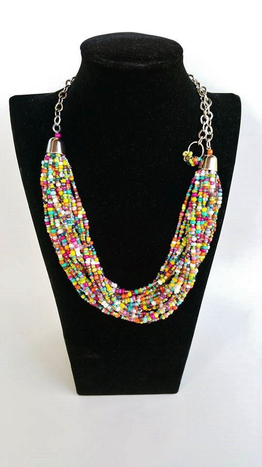 Summer necklace  seedbead necklace  statement by TresJoliePT