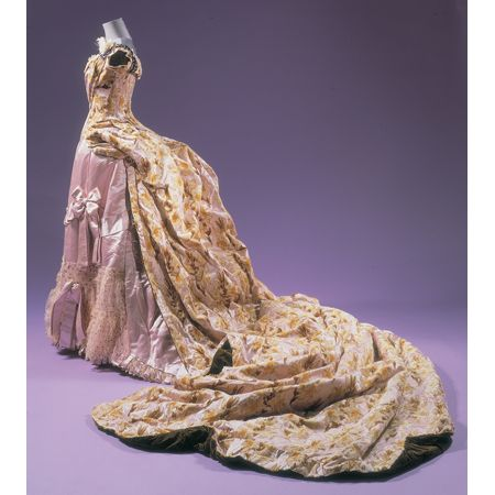 Worth Velvet and Satin Court Gown and Train   French, circa 1888