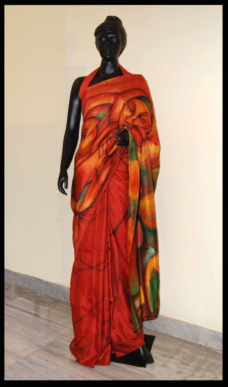 Excellent piece of Art. Theme of this saree is based on Magical Indian Red. Fabulous finishing. This saree is purely hand-painted. Fabric of this saree is Pur